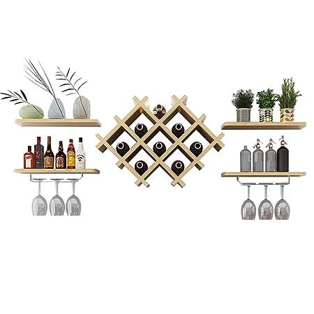 Wall Mount Metal Wine Rack Bottle Holder Wine Glass Storage Unit 4