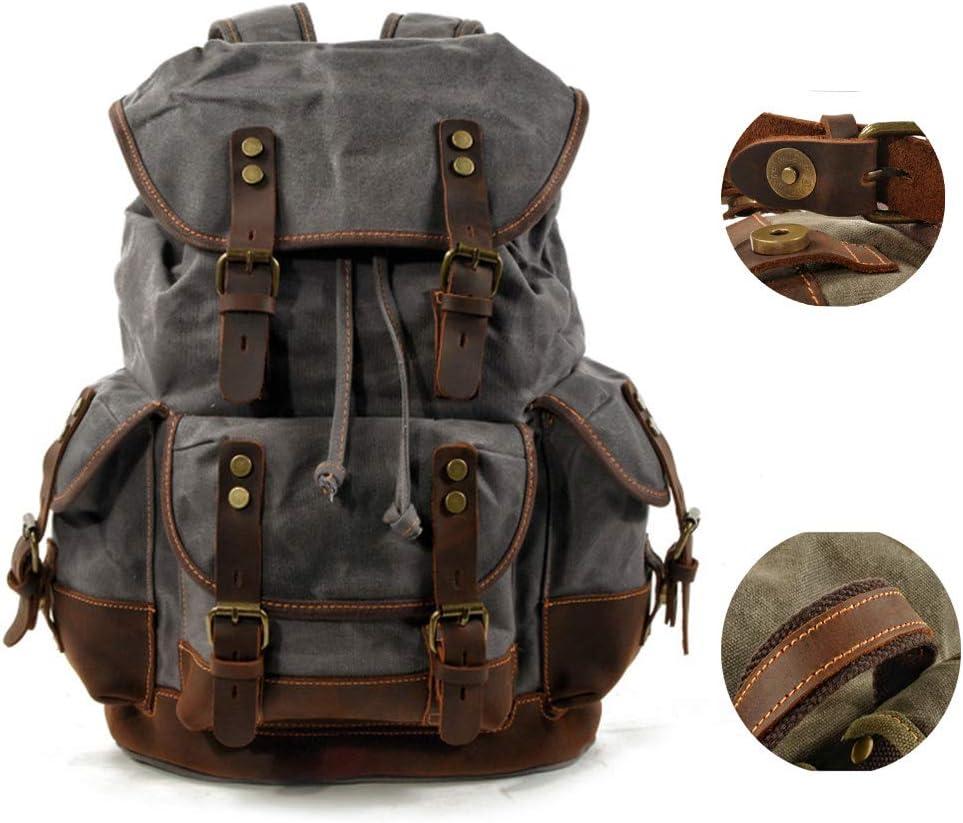 Lilingyu Unisex de la Vendimia del Cuero Mochila Casual clásico de Grabado Mochila de Gran Capacidad Lienzo Bookbag para Viajar al Aire Libre Weekender,Gris