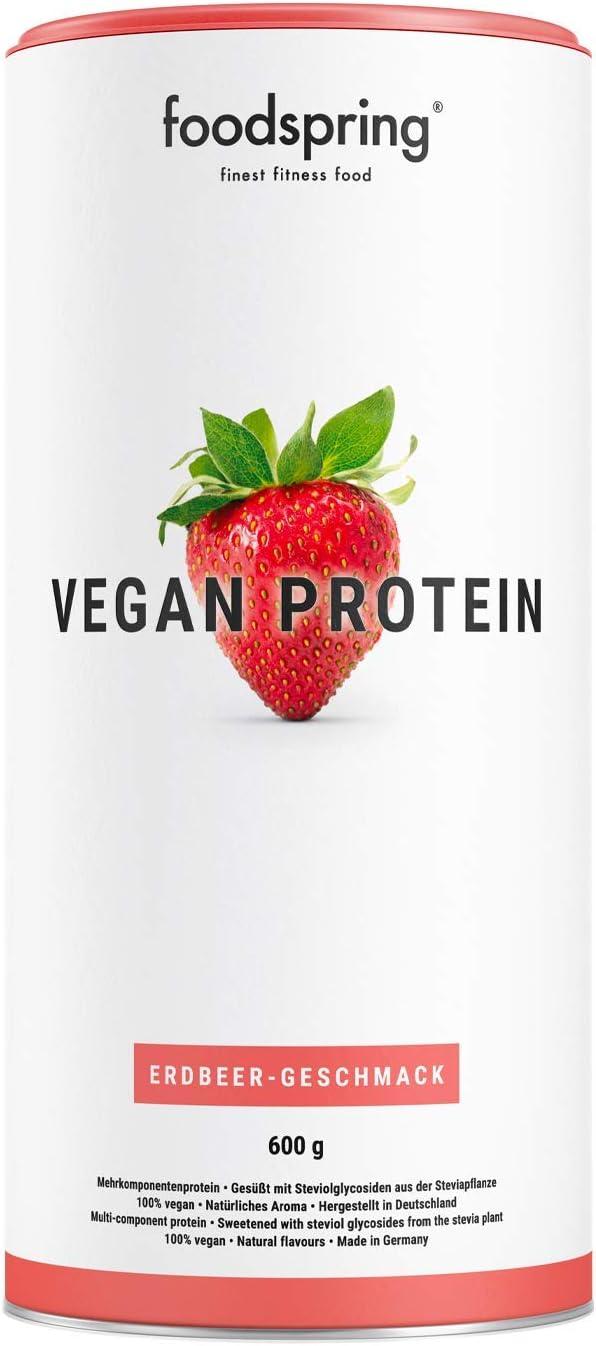 foodspring Proteína Vegana, Fresa, 600g, 100% proteína ...
