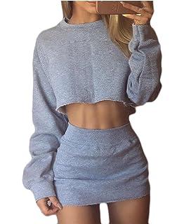 b6ea3df208 Jaycargogo Women's 2 Piece Tracksuit Outfit Sport Long Sleeve Crop Top  Hoodies+Skinny Pencil Skirt