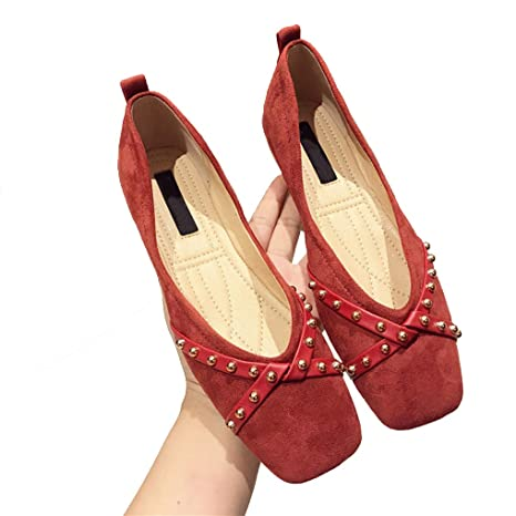 f5961a70dc8ba Amazon.com: August Jim Red Flats Shoes Women Casual Pointed Toe ...