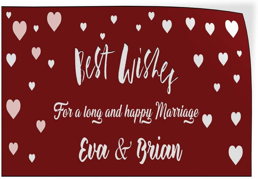 Custom Door Decals Vinyl Stickers Multiple Sizes Best Wishes Red Hearts Lifestyle Wedding Outdoor Luggage /& Bumper Stickers for Cars Red 34X22Inches Set of 5