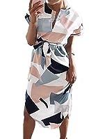Halife Women Floral Print Short Sleeve Ladies Summer Party Holiday Short Mini Dress