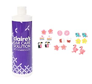 Claire's Ear Care Solution and 9 Pairs of Glitter Tropical Animal Stud Earrings for Girls
