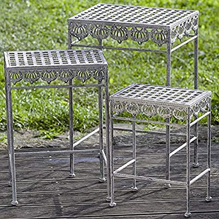 3er Set Tisch Beistelltisch Pflanztisch Ornament Eisen Beige Antik