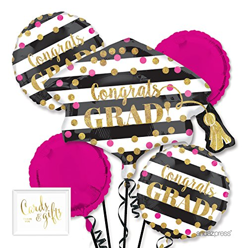 Andaz Press Balloon Bouquet Party Kit with Gold Cards & Gifts Sign, Bouquet Pink Gold Glitter Graduation Decorations, 1-Set
