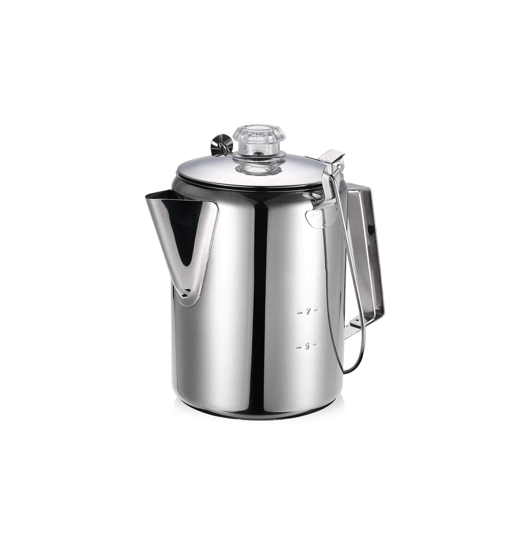 Coffee-Percolators Outdoor Camping Coffee Pot 9 Cup Stainless Steel Percolator Coffee Maker For Camping Home Kitchen,White