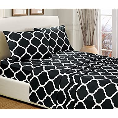4-Piece QUEEN size, BLACK STAR Printed Bed Sheet Set-Super Soft-High Thread Count Double Brushed Microfiber-1500 Series HIGHEST QUALITY & LOWEST PRICE-SALE-Deep Pockets