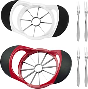 2 Pack Apple Slicer Cutter, 8-Blades and 12-Blades Extra Sharp Stainless Steel Apple Corer, Apple Core Remover and Slicers, with 4 Premium Fruit Forks for Home Kitchen