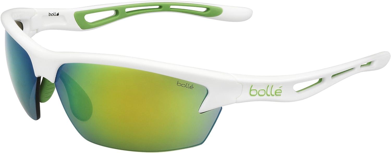 Bolle Womens Bolt Sunglasses, Shiny White Green Edge/Modulator Green Emerald Oleo AF Lens, Large