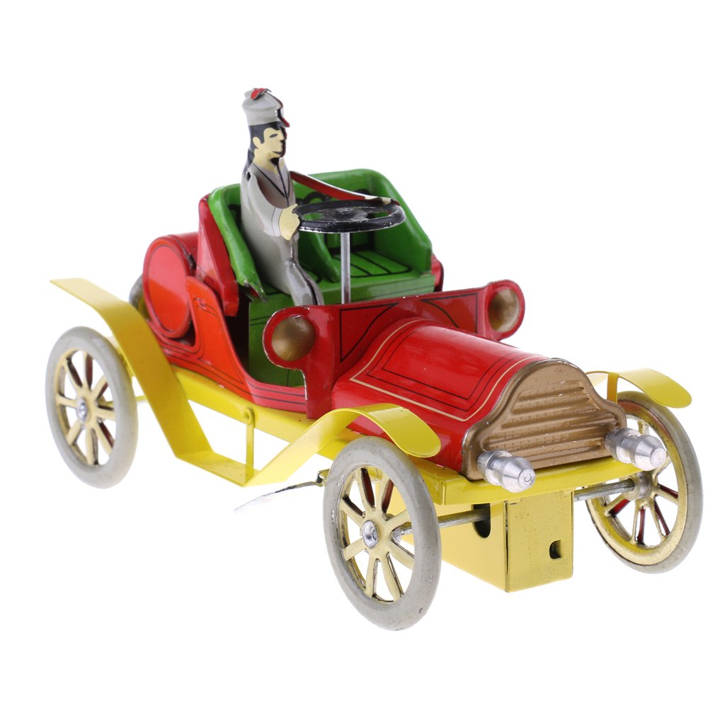 Dovewill Retro Wind up Gentleman Driving Car Model with Key Clockwork Metal Tin Toy Collectible Gift