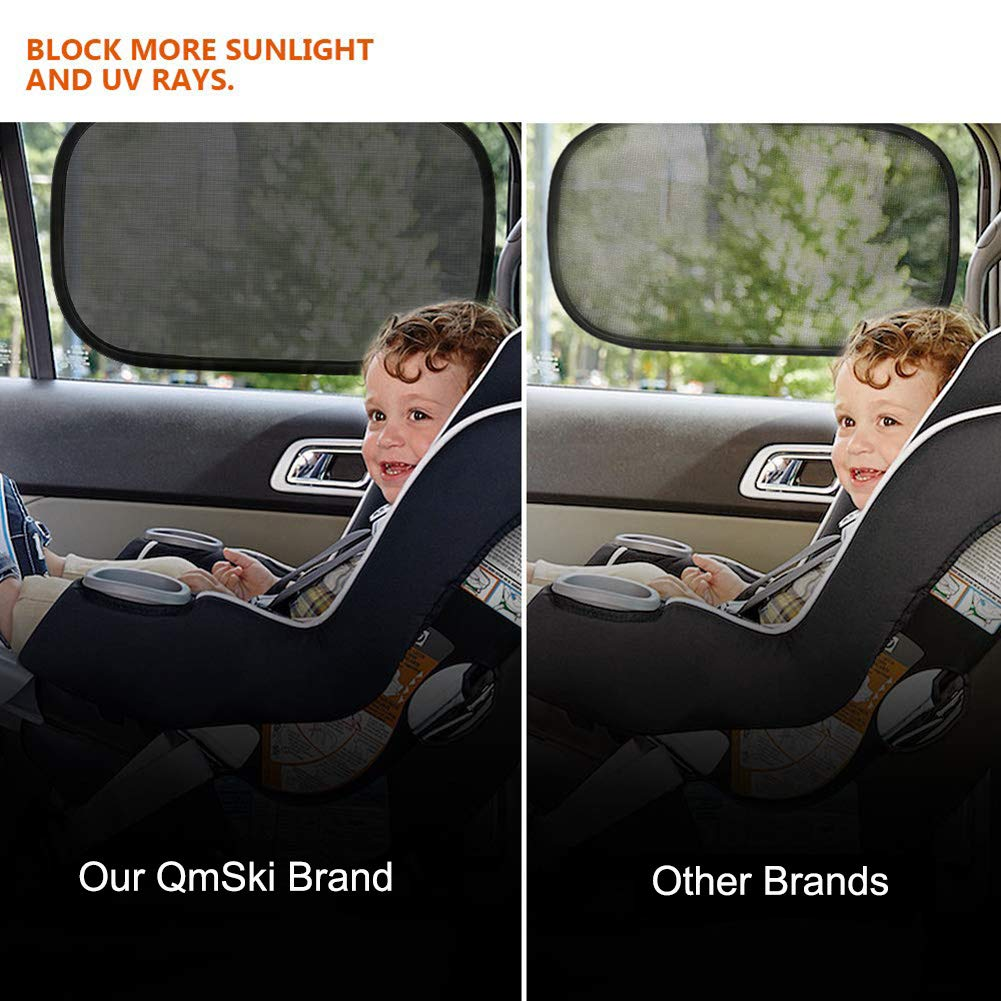 QmSki Car Window Shade Blocks UV Rays Covers Rear Side Windows Protects Baby Kids Pets Adults Car SunShades Adsorption Electrostatic Pack of 4
