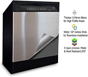 """EZ FAUX DECOR Dishwasher Stainless Steel Peel and Stick Self Adhesive Appliance Cover Film for Panel 36"""" x 26"""" Brushed Chrome Satin Finish Thick Waterproof Not Contact Paper or Paint!!"""