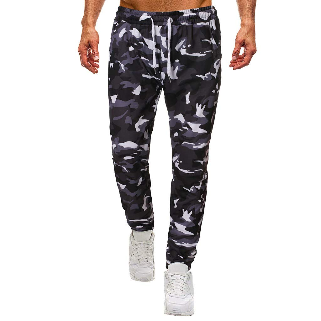 Men's Cargo Pants Camouflage Plus Size Pockets Elastic Waist Baggy Trousers Tracksuit Waist Casual Trouser Outdoor Hiking Sweatpants S-XL