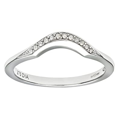 Naava Women's 9 ct White Gold Round Brilliant Cut 0.1 ct Diamond Eternity Ring A9TyHVbKrs