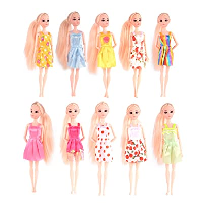 Lanlan 10 pcs Fashion Handmade Dresses Outfit for Barbie Doll Toy (Style Color Random): Toys & Games