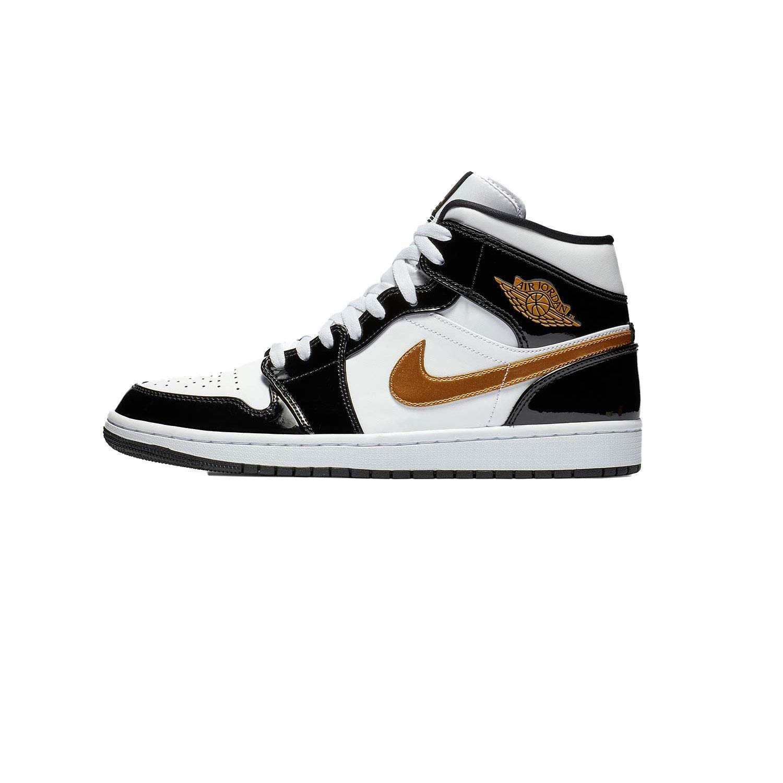 | Jordan Nike Men's Air 1 MID SE BlackWhiteGold