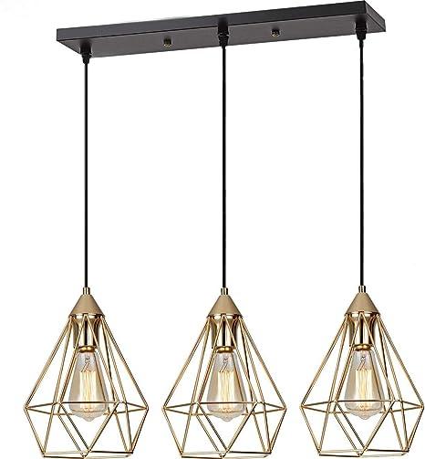 SEEBLEN 3- Light Indoor Island Pendant Light Gold Metal Hanging Ceiling  Light Fixtures for Kitchen Kitchen Island Bar Dining Room Farmhouse Coffee  ...