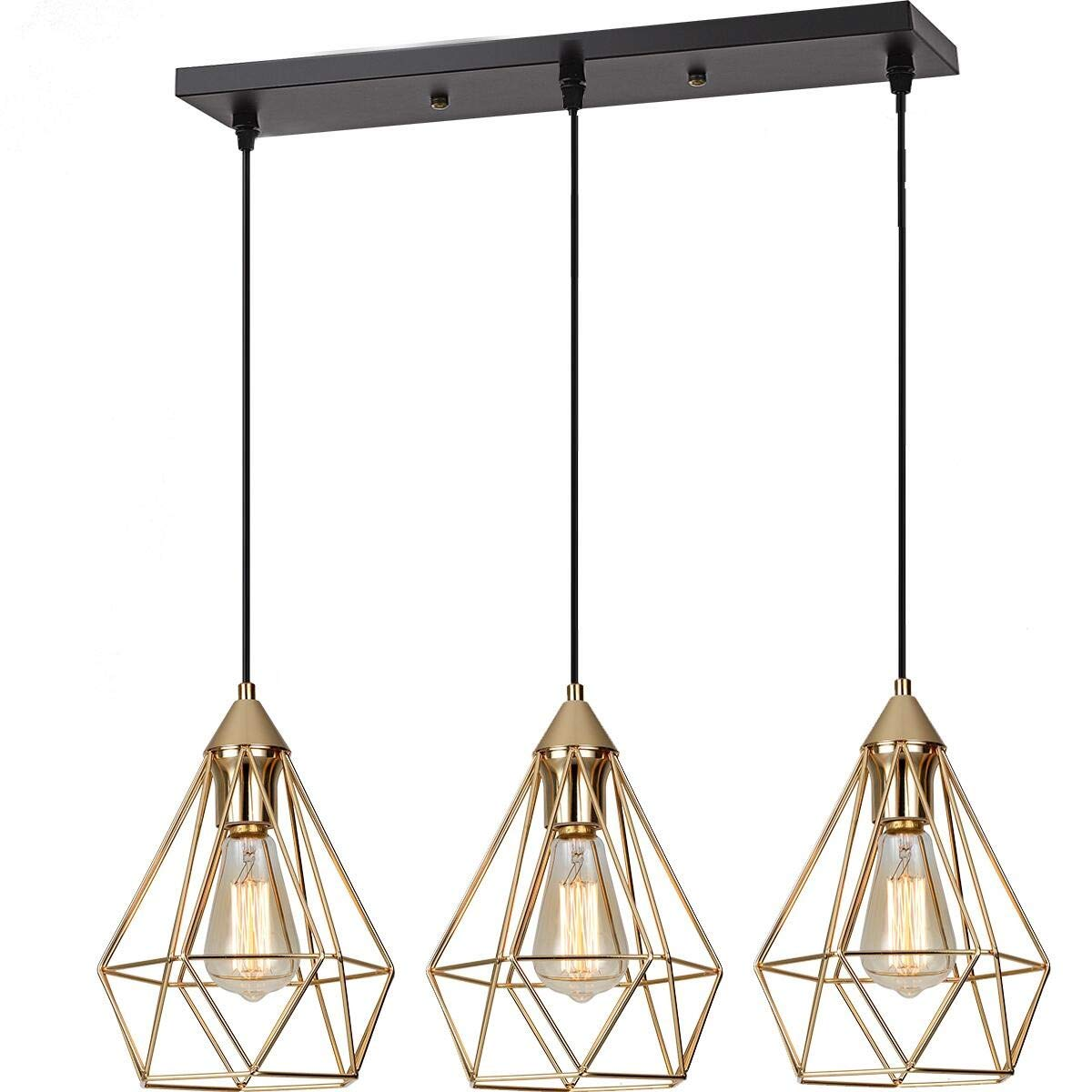SEEBLEN 3- Light Indoor Island Pendant Light Gold Metal Hanging Ceiling Light Fixtures for Kitchen Kitchen Island Bar Dining Room Farmhouse Coffee Office