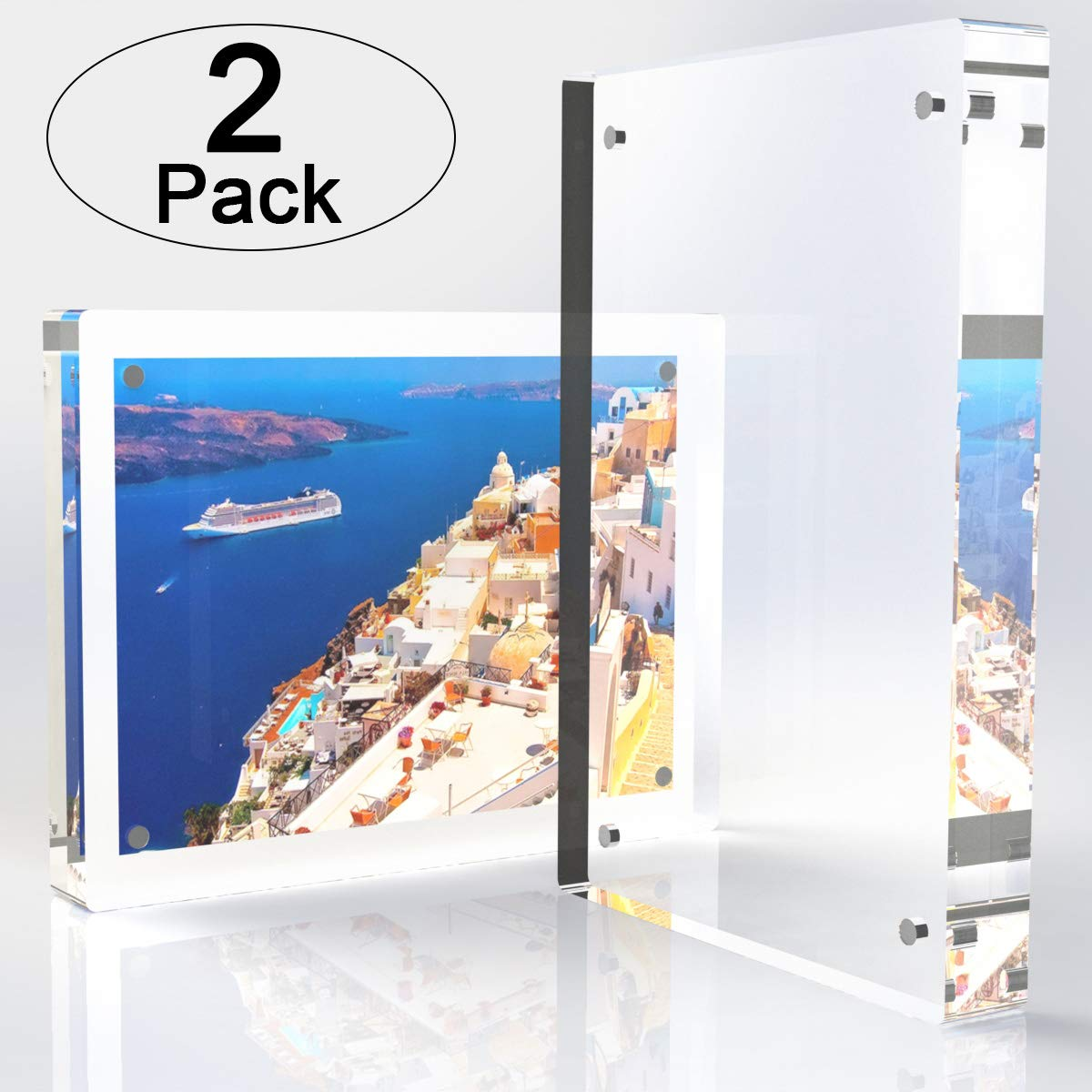 Tomorotec 2-Pack [5 x 7 inch] High Transparency Magnetic Picture Frames Frameless, Acrylic Photo Frame Double Sided Free Standing Desktop Display Stand(2 Pack) by Tomorotec