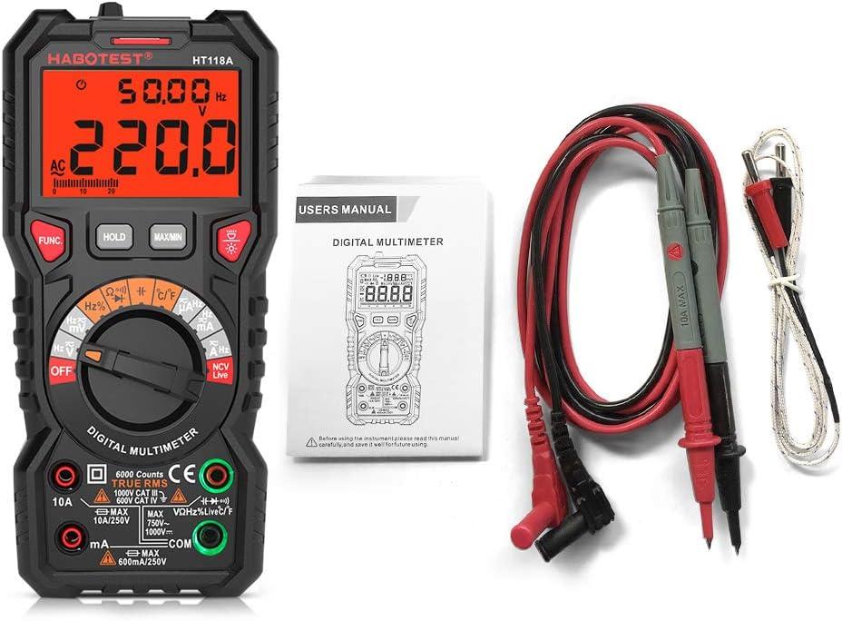 Festnight HABOTEST HT118A Multimetro digitale Auto Range multimetro 6000 Conteggi Vero RMS Misurazione Tensione AC//DC Resistenza corrente Capacit/à Frequenza Temperatura NCV Test Diode con LCD