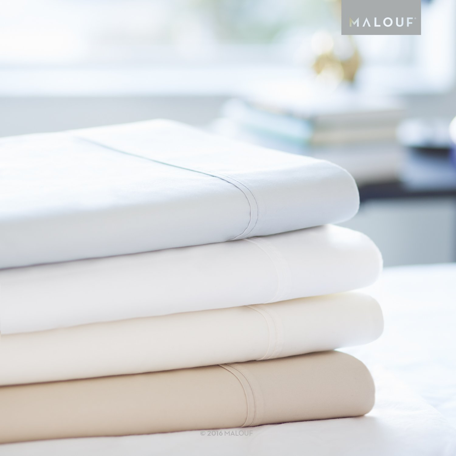 WOVEN 600 Thread Count Luxurious Feel Soft Cotton Blend Sheet Set with Deep Pocket Design - Split Queen - Driftwood by MALOUF (Image #2)