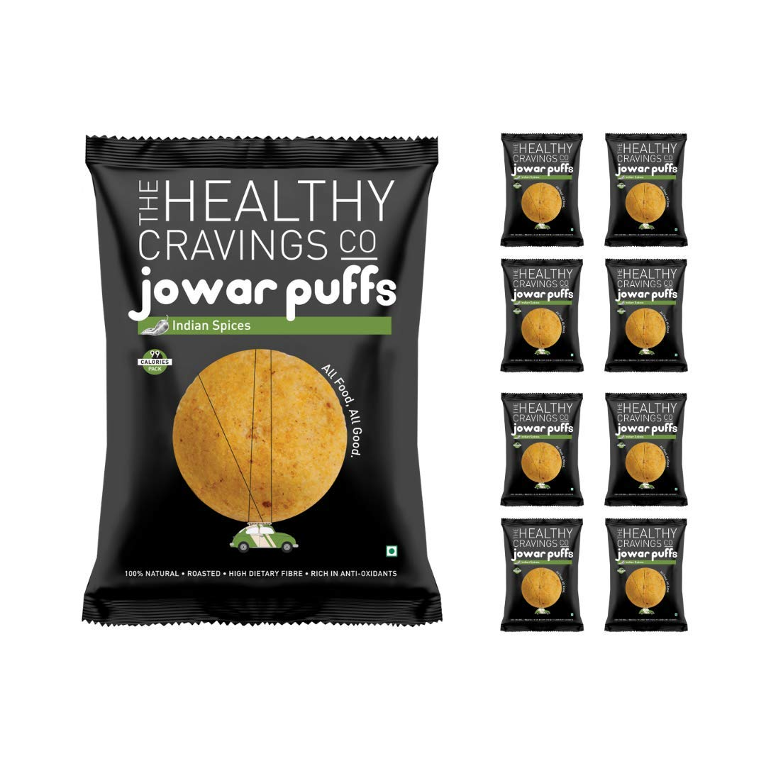 The Healthy Cravingse Co - Roasted Jowar Puffs - Indian Spices (Pack Of 9 25G Each)