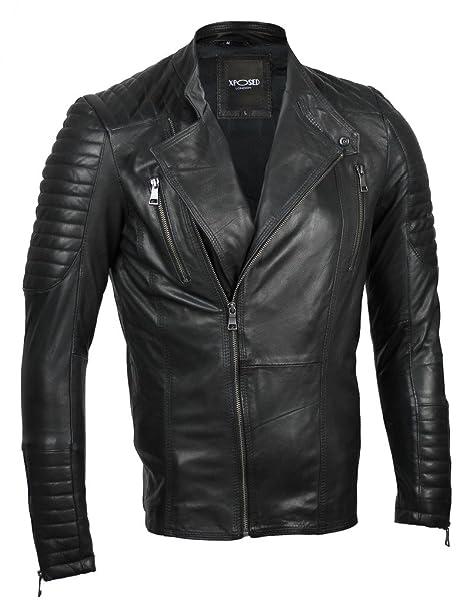 Xposed para Hombre Funda de Piel Negro Vintage con Cremallera Smart Casual Slim Fit Retro Biker Chaqueta