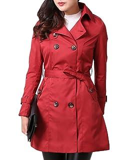MISSMAO Mujer Trench Foso Capa Chaqueta Larga con Cinturon Abrigo