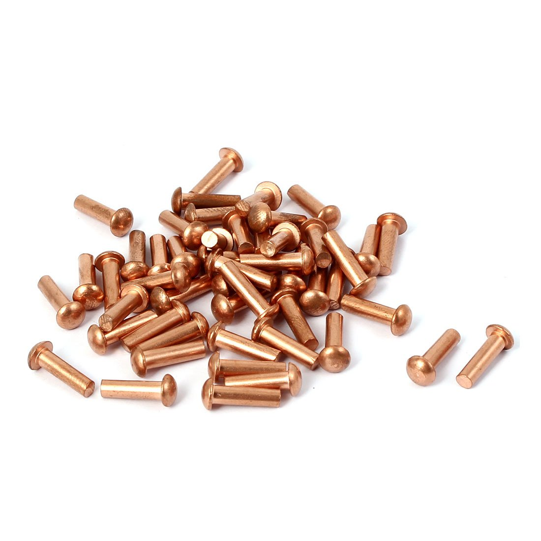 uxcell3mm x 10mm Shaft Flat Head Bolts Copper Solid Rivets Fasteners Gold Tone 50 Pcs