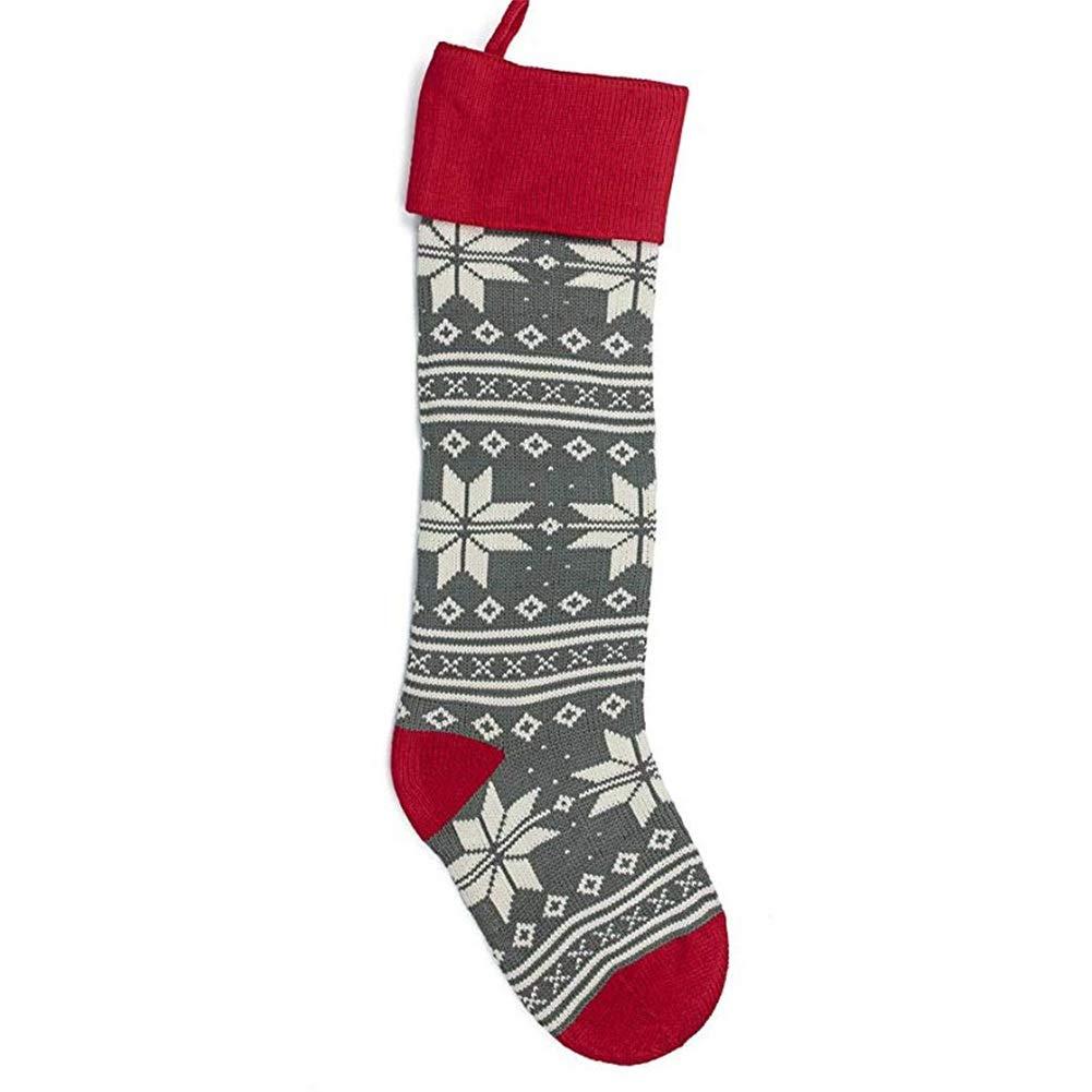 RULANKEJI Knit Calze di Natale Rosso e Grigio Calza di Natale