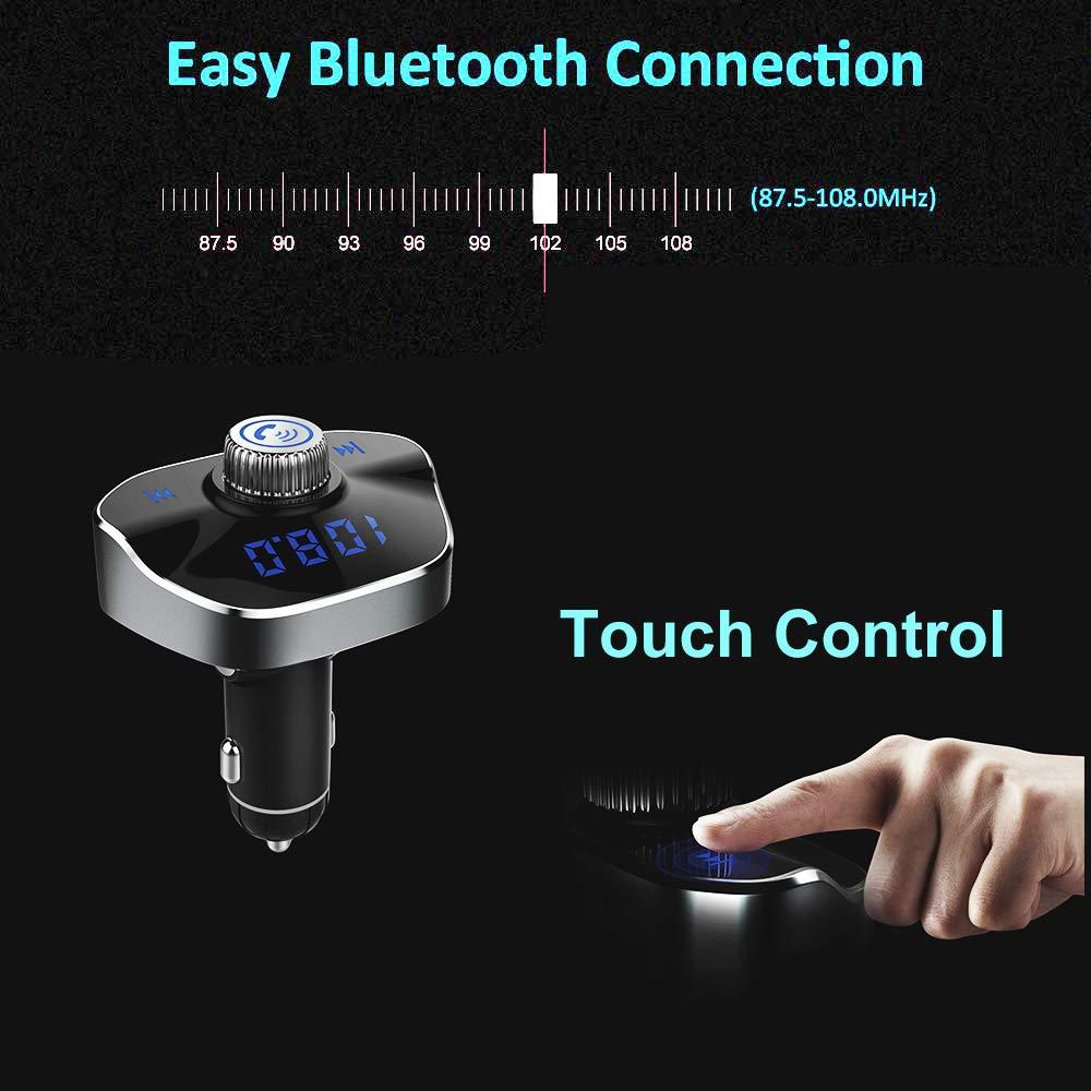y Flash Drive con Soporte de Tarjeta TF Pritech 3.1A y 1A T/áctil Transmisor FM Bluetooth 4.2 Adaptador de Coche con Funci/ón Manos Libres y Puertos USB Dobles PBP-238 USB