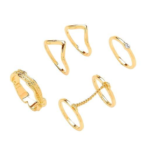 Front Row Damen-Ring Set mit 4 goldfarbenen Fashion Ringen mit verschiedenen Designs