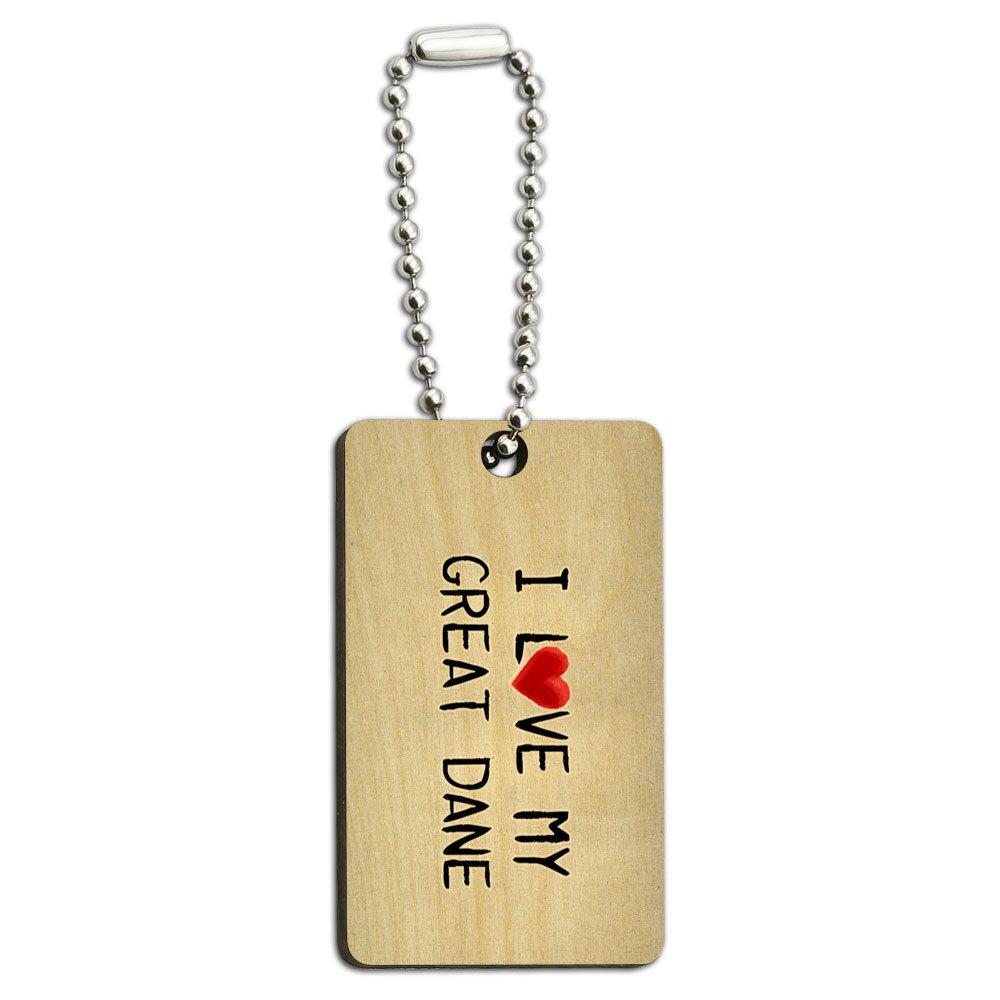I Love My Great Dane Written on Paper Wood Wooden Rectangle Key Chain