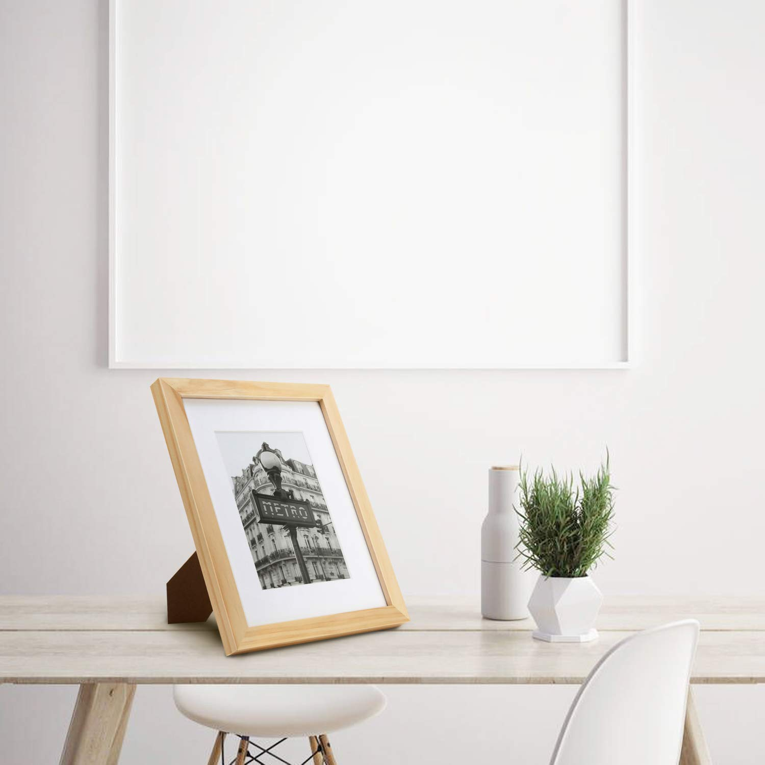 Mounting Hardware Included ONE WALL Tempered Glass 8x10 Picture Frame Solid Wooden Frame Set of 4 with Mats for 5x7 Photo Natural Wood Color Frames for Wall Mounting or Tabletop