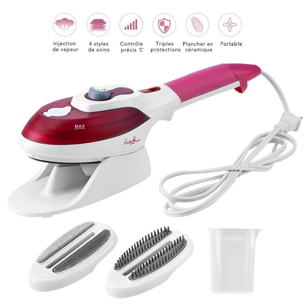 Gelma Steamer For Clothes,Garment Steamer 100ml Portable Handheld Fabric Steamer Fast Heat-up with Ceramic Soleplate Powerful Travel Clothes Steamer for Home and Travel Red