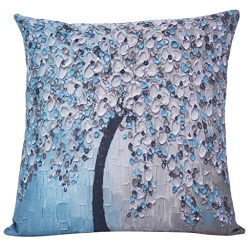 ChezMax Oil Painting Home Decorative Cotton Linen Throw Pillow Cover Cushion Case Square Pillowslip For Bedding Sofa Lake Blue 45 X 45 cm (Home Decorative Items Online Shopping)