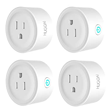HUGOAI WiFi Smart Outlet, Mini Smart Plug 4 Pack, Works with Alexa & Google Home/IFTTT, APP Remote Control from Anywhere, No Hub Required, WiFi Enabled Voice Control Smart Socket