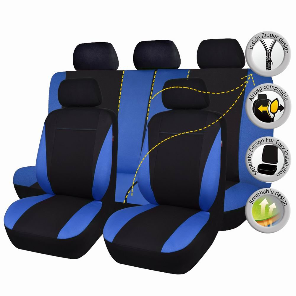 Flying Banner Black and Blue Cloth Fabric Universal Car Seat Covers Set with Airbag Compatible and Leather Pattern Design Ningbo Qiyang International Trade Co. Ltd