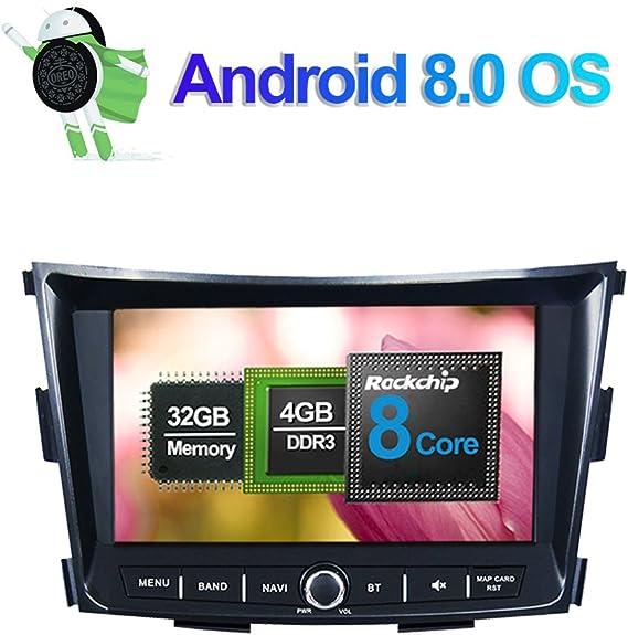 8 pulgadas Android 8.0 Octa Core 4GB RAM Radio estéreo del coche para Ssangyong Tivoli 2015- con Reproductor multimedia Soporte navegación GPS AM FM RDS Bluetooth WIFI AV-Out Entrada de cámara: Amazon.es: