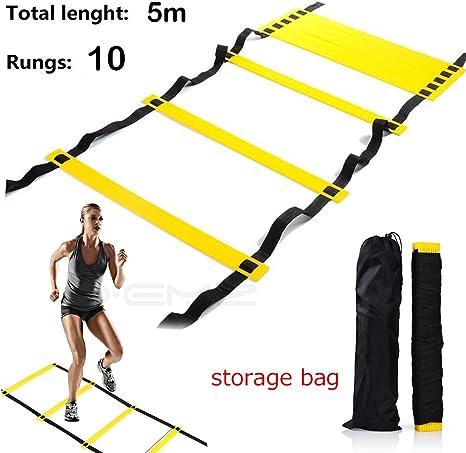 Escalera de entrenamiento de agilidad, mejora la velocidad coordinación desarrollo de la fuerza de los pies equipo de entrenamiento de fitness para baloncesto fútbol práctica, Negro+amarillo, 10 rung: Amazon.es: Deportes y aire