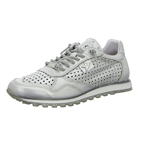 Cetti Damen Sneaker,METALIK Leder Silber: : Schuhe