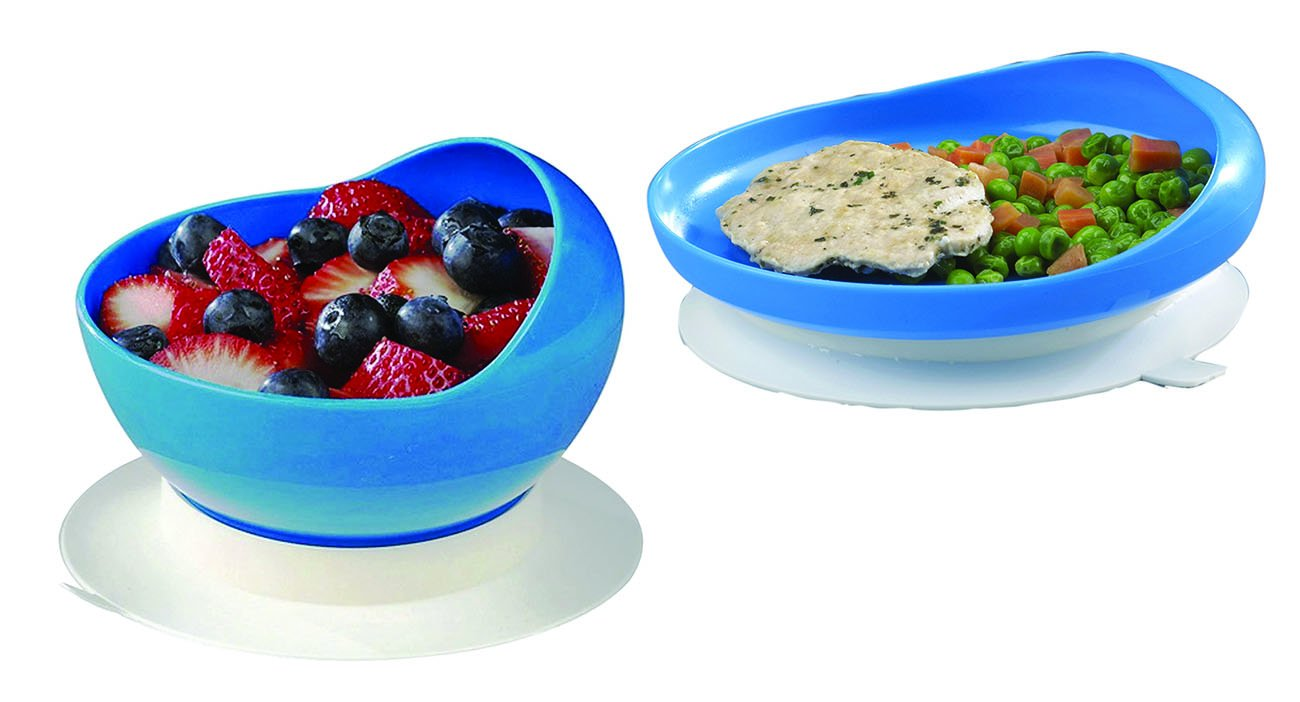 Scoop Bowl with Suction Cup Base and Scoop Plate with Suction Cup Base Bundle