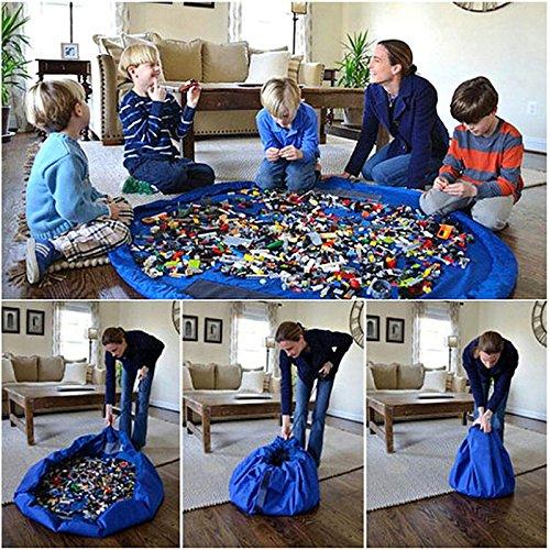 Generic Bluee: Portable LD Infant Baby Play Mat 150cm grande borse di stoccaggio [] Toys organizer Blanket Rug imballaggio scatola per giocattoli per bambini