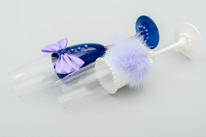 Copas de novios artesanales azul y blanca decoracion para boda regalo original: Amazon.es: Hogar
