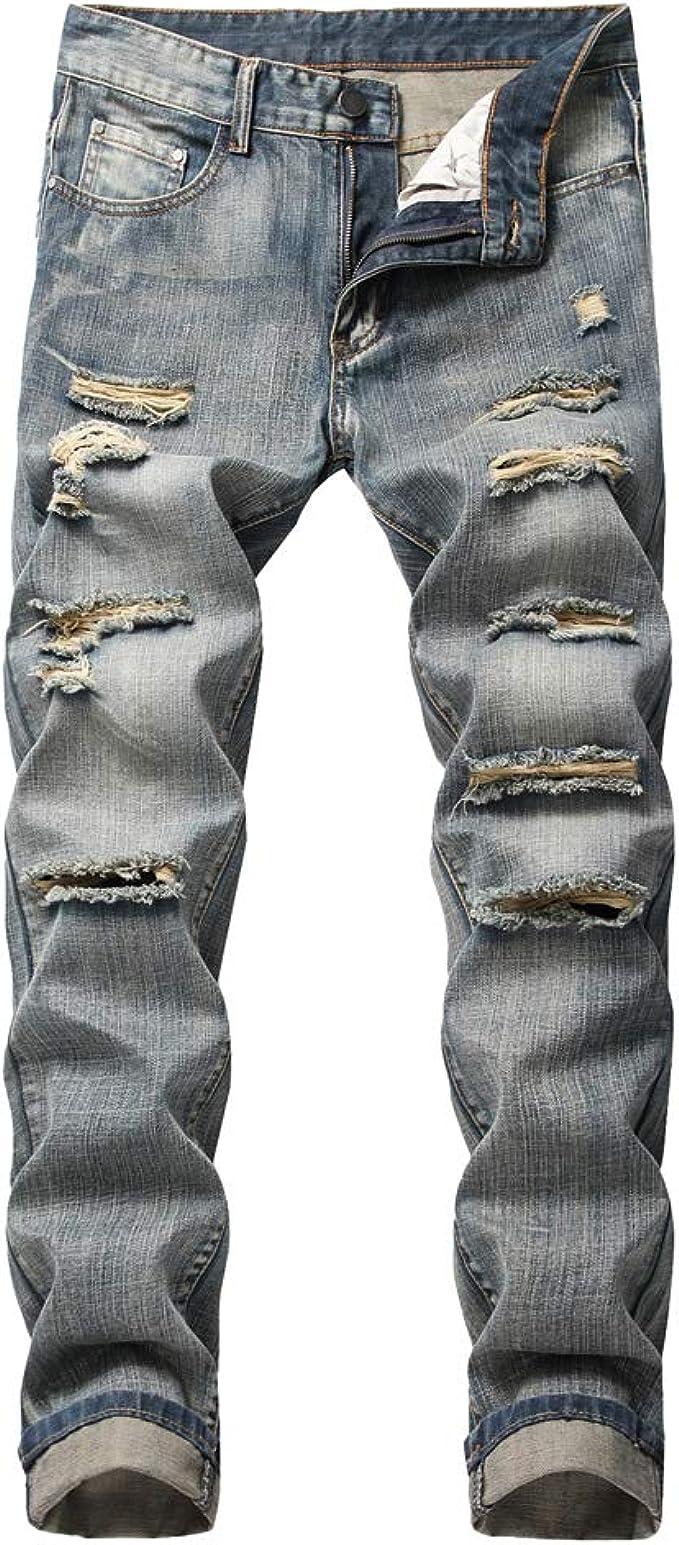 Yuanu Herren Jeans Slim Fit Strecken Gerade Geschnitten Zerrissene Jeans Retro Waschen Reißverschluss Jeanshose Frühling Sommer Beiläufig Stylische Streetwear Destroyed Jeans Bekleidung
