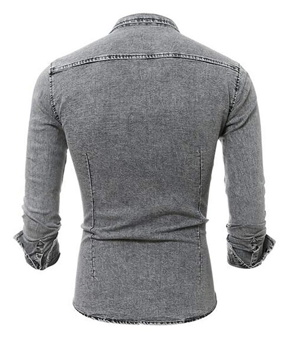 Sweatwater Mens Classic Fit Denim Button Down Faded Long Sleeve Washed Shirts