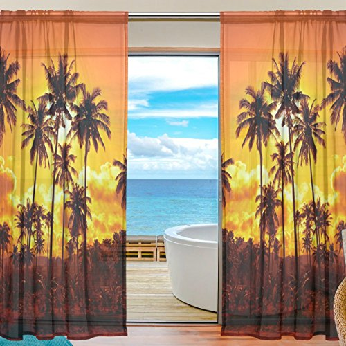 Sheer Palm Tree - INGBAGS Bedroom Decor Living Room Decorations Palm Tree Sunset Pattern Print Tulle Polyester Door Window Gauze / Sheer Curtain Drape Two Panels Set 55x84 inch ,Set of 2