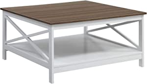 """Convenience Concepts Oxford 36"""" Square Coffee Table, Driftwood / White"""