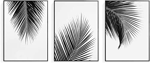Artinme Trendy Framed Modern Abstract Elegant Black And White Palm Tree Leaves Giclee Canvas Prints Wall Art Picture Living Room Bedroom Home Decoration